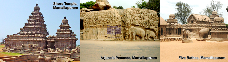 Shore Temple & Arjuna's Penance   & Five Rathas